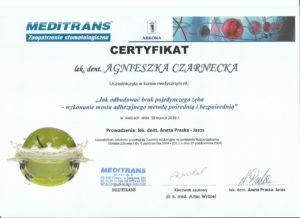 most adhezyjny - certyfikat specjalisty stomatologa Medicodent Kielce