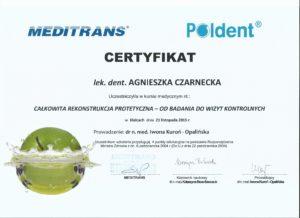 rekonstrukcja protetyczna - certyfikat specjalisty stomatologa Medicodent Kielce