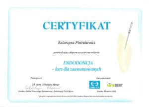 zaawansowana endodoncja - certyfikat specjalisty stomatologa Medicodent Kielce