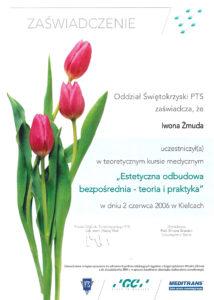 estetyczna odbudowa zębów - zaświadczenie specjalisty stomatologa Medicodent Kielce