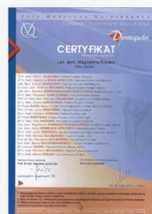 doskonalenie zawodowe lekarzy dentystów gabinetów Medicodent Kielce - certyfikat